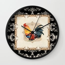 Kitchen Rooster Red Bantam Watercolor Damask Vintage Style Wall Clock