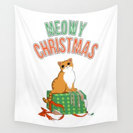 Meowy Christmas Orange Tabby Cat T-Shirt xmas Santa Claws Wall Tapestry