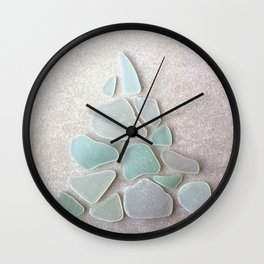 Sea Foam Sea Glass Christmas Tree #Christmas #seaglass Wall Clock