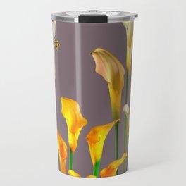 GOLD CALLA LILIES & DRAGONFLIES ON GREY Travel Mug