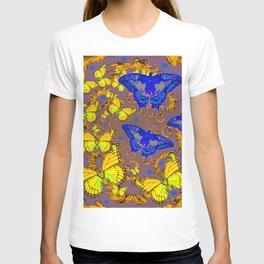 Decorative Blue & Yellow Butterfly Patterns T-shirt