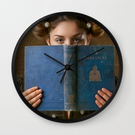 Girl Smiling Behind a Book Wall Clock