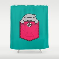 pocket fuel Shower Curtains featuring Pocket Dolphin by Steven Toang