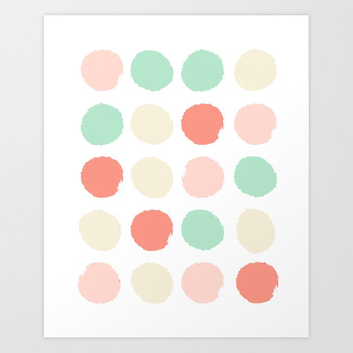Abstract minimal polka dots pastels painted trendy modern color palette Art Print