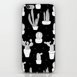 Black and White Desert Cacti Pattern iPhone Skin