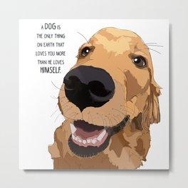 Golden Retriever dog love Metal Print