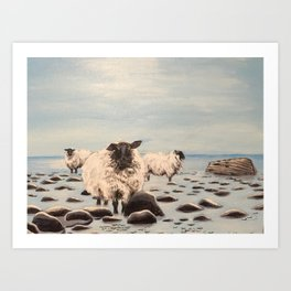 Sheep on beach with boat Art Print