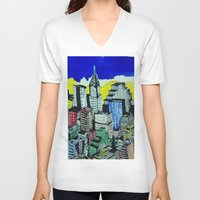 buildings V-neck T-shirts featuring buildings by Halley's Coma