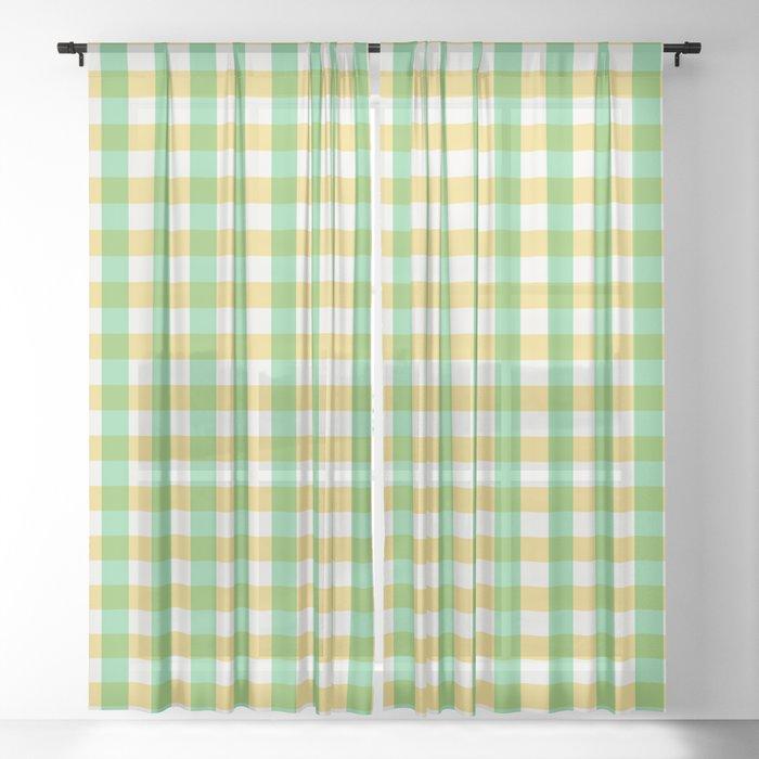 mint yellow plaid Sheer Curtain