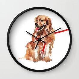 watercolor dog vol 17 golden retriever Wall Clock