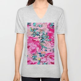 Pink floral work with some turquoise and yellow details Unisex V-Neck