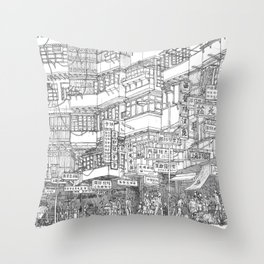 Hong Kong. Kowloon Walled City Throw Pillow