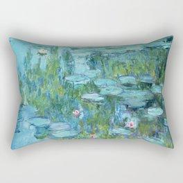Claude Monet Water Lilies / Nymphéas teal aqua Rectangular Pillow