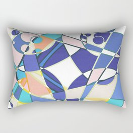 Abstract curves pattern in retro colors print Rectangular Pillow