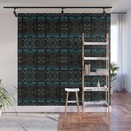 Geometric Stained Glass Blocks - Black Velvet Pattern on Eden Blue & Sandy Gold by artestreestudio Wall Mural