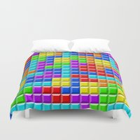 tetris Duvet Covers featuring Tetris by Rebekhaart