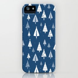 Christmas Tree Pattern (Blue) iPhone Case