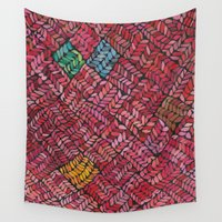 knit Wall Tapestries featuring Cozy Knit Red by Pooja Goel