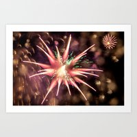 philippines Art Prints featuring Fireworks - Philippines by David Johnson