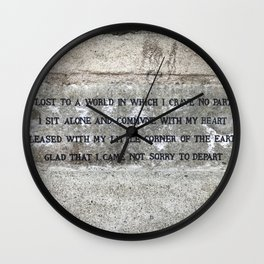 Inscriptions above the seat of Mercury Wall Clock