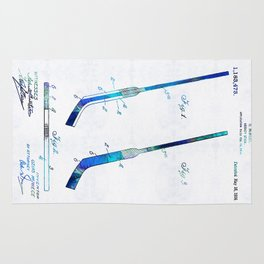 Blue Hockey Stick Art Patent - Sharon Cummings Rug