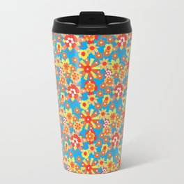 Ditsy Orange Flowers on Blue Travel Mug