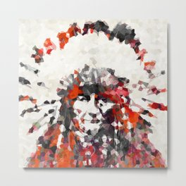 Modern Red Indian Chief - Sharon Cummings Metal Print