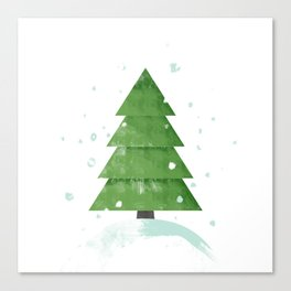 Christmas tree on the top of the snowy hill  Canvas Print