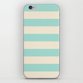 Mint Green and Cream Stripe iPhone Skin