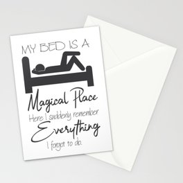 The bed is a magical place. Stationery Cards