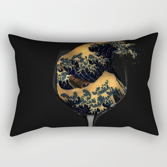 The Great wave in the glass Rectangular Pillow