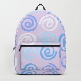 Lavender white blue violet aqua geometrical swirls pattern Backpack