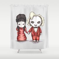 wedding Shower Curtains featuring Beetle Wedding by Ludwig Van Bacon