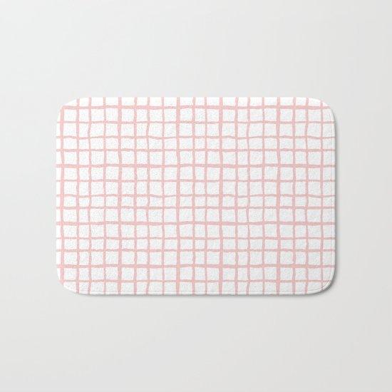 Pantone rose quartz grid pattern print minimal lines cross swiss cross painting hand drawn pastel Bath Mat