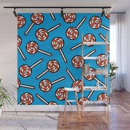 Red, white & blue lollipops pattern Wall Mural
