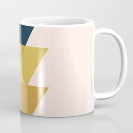 Triangle Trio Minimalist Geometric in Mustard Yellow Navy Blue Blush Pink Coffee Mug