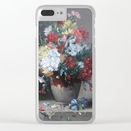 Eugene Henri Cauchois - Carnations in a Vase on Stone Plinth (1890) Clear iPhone Case