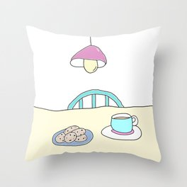Hot beverage and cookies Throw Pillow