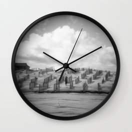 Dreamy Day on the Dunes - Corolla, NC - Black and White Film Photograph Wall Clock