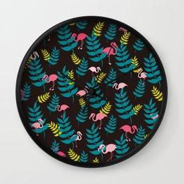 Flamingo and Leaves | Black Wall Clock