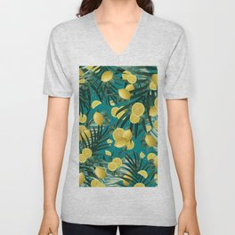 Summer Lemon Twist Jungle #5 #tropical #decor #art #society6 Unisex V-Neck