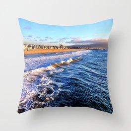 """Hermosa Beach """"On the Pier 2"""" Throw Pillow"""