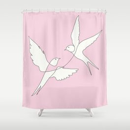 Two Swallows Line Art Shower Curtain
