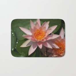 Beautiful Peach Waterlily Vector Bath Mat
