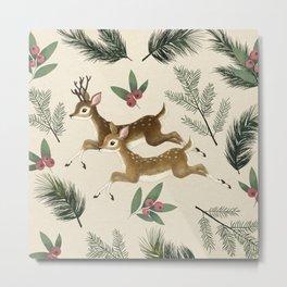 winter deer // repeat pattern Metal Print