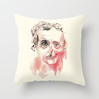 poe Throw Pillows featuring Poe by Elena López Macías
