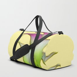 PURPLE & WHITE CALLA LILIES FLORAL YELLOW ART Duffle Bag