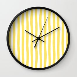 Yellow and White Cabana Stripes Palm Beach Preppy Wall Clock