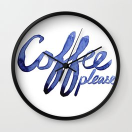 Coffee Please Drinks Caffeine Typography Coffee Lovers Wall Clock