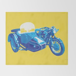 Vintage BMW Motorcycle Sidecar Throw Blanket